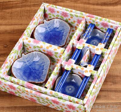 创意陶瓷餐具套装碗筷子 商务乔迁礼品结婚婚庆回礼 冰裂釉8件