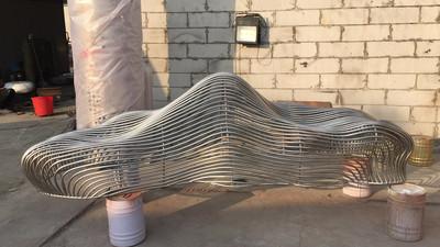 鎏芳DS112园林抽象山峰304不锈钢管编织组合现代简约雕塑